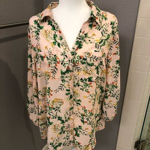 NY pink floral blouse, large